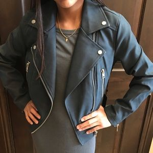 Forever 21 blue zip Moto faux leather jacket M